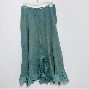 Free People Flowy Crinkle Teal Maxi Skirt Size 2